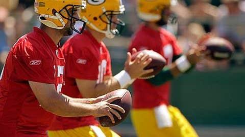 Green Bay Packers (Aaron Rodgers - left, Matt Flynn - center, Graham Harrell - right)