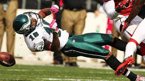 DeSean Jackson #10 of the Philadelphia Eagles is laid out