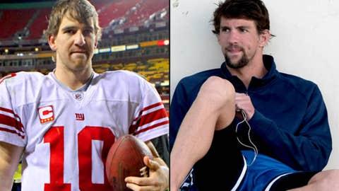 Giants QB Eli Manning and swimmer Michael Phelps