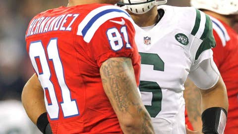 Mark Sanchez appeared way too pleased after a tough divisional loss