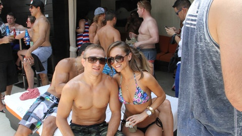 TJ Dillashaw and a pool party honey
