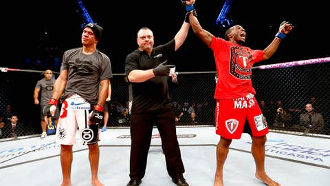 Welterweight Sean Spencer lets out a victory yell