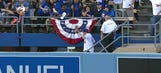 Dodgers fan falls down stairs trying to catch ball