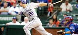 Arenado sets Rockies record with 28-game hit streak in loss to Rangers