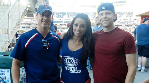 Kaylin chats with fans before the start of the Twins & Royals game at Target Field.