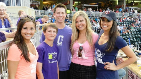 These young fans show their support for Pancreatic Cancer Awareness in their purple t-shirts.
