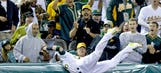 A's Donaldson makes incredible catch, defeats tarp once again