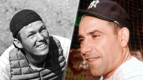1947: Bill Dickey is replaced by Yogi Berra