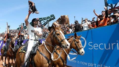 April 13 - Giants raise championship banner