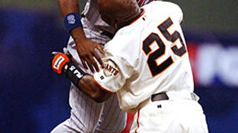 Hunter robs the home run king: July 9, 2002, at Miller Field in Milwaukee