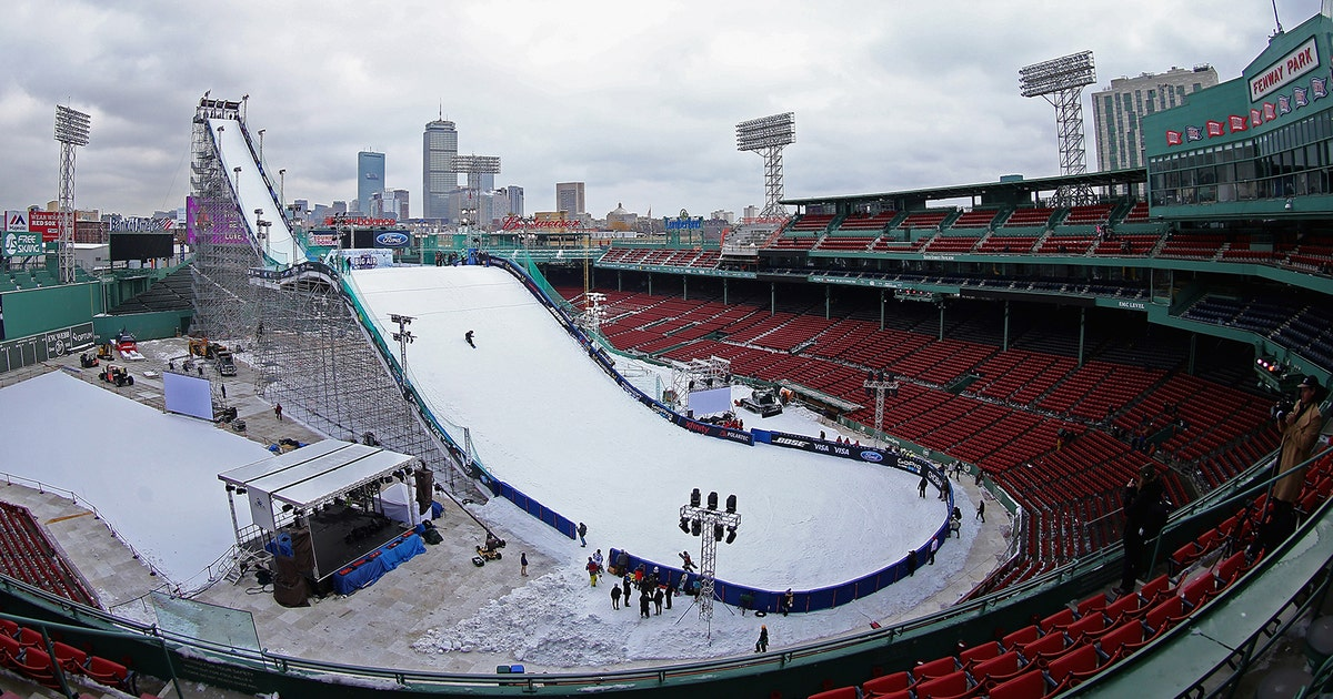 fenway park transforms  winter sports park  big air ski  snowboarding event fox sports