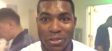 Yasiel Puig celebrates the Dodgers' Game 3 win live inside the clubhouse