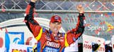 Standing tall: Edwards survives rain, wrecks for Bristol win
