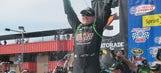 Rowdy in Victory Lane: Kyle Busch celebrates at Auto Club Speedway