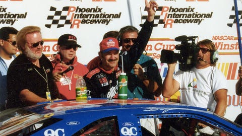 Bobby Hamilton took 'The King' Richard Petty to Victory Lane when he scored the win in the famous No. 43 during the 1996 Sprint Cup Series race at Phoenix International Raceway.