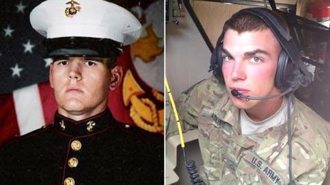 Marine Lance Cpl. Brandon Webb and Army Spc. Trevor B. Adkins/Coca-Cola 600 pace car
