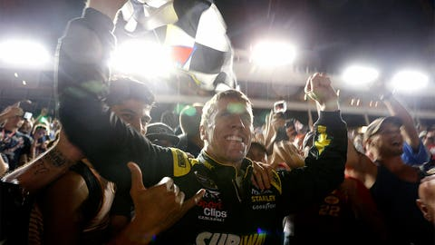 Carl Edwards celebrates with the fans after Coca-Cola 600