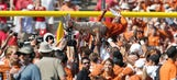 Charlie Strong rejoices as Texas stuns Oklahoma in Red River Rivalry