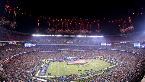 A stadium sparkles