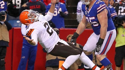 Johnny Manziel leans into a sack