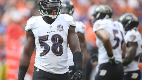 Elvis Dumervil enters the building