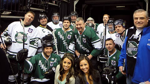 Kaylin & Angie met with the Minnesota Warriors hockey team before they took the ice during the 1st intermission of the Wild's Military Appreciation night.