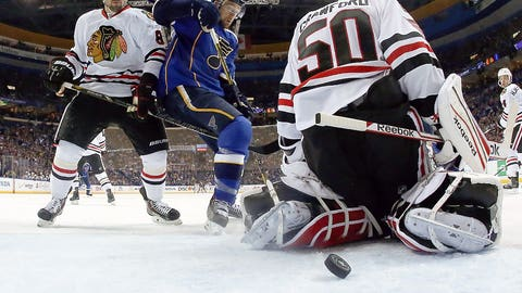 April 17: Blues 4, Blackhawks 3 in 3 OTs (NHL Stanley Cup playoffs, first round)