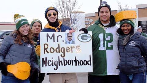 Lambeau Field is Mr. (Aaron) Rodgers' Neighborhood! Sage has the championship belt to prove it.
