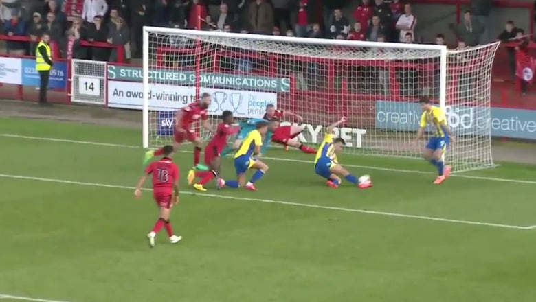 Watch this absolutely ridiculous goalmouth scramble in League Two