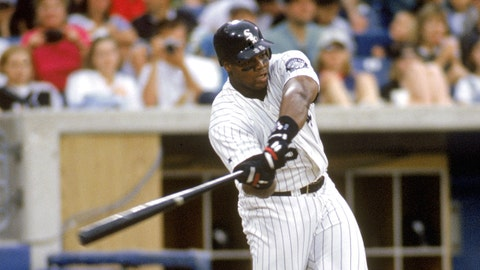 CHICAGO - JUNE 23:  Frank Thomas of the Chicago White Sox bats at Comiskey Park on June 23, 1996 in Chicago Illinois. (Photo by John Reid III/MLB Photos via Getty Images)