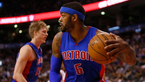 Jan 8, 2014; Toronto, Ontario, CAN; Detroit Pistons forward Josh Smith (6) comes down with a rebound against the Toronto Raptors during the first half at the Air Canada Centre. Mandatory Credit: John E. Sokolowski-USA TODAY Sports