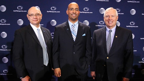 Jan 11, 2014; State College, PA, USA; David Joyner (left) and James Franklin (center) and Rodney Erickson (right) pose for a photo after James Franklin is announced as the Penn State Nittany Lions new head coach during a press conference at Beaver Stadium. Mandatory Credit: Matthew O'Haren-USA TODAY Sports