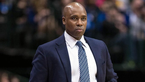 Jan 13, 2014; Dallas, TX, USA; Orlando Magic head coach Jacque Vaughn watches his team take on the Dallas Mavericks during the first half at the American Airlines Center. Mandatory Credit: Jerome Miron-USA TODAY Sports