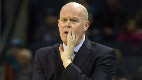 Jan 18, 2014; Charlotte, NC, USA; Charlotte Bobcats head coach Steve Clifford yells out during the first half against the Miami Heat at Time Warner Cable Arena. Mandatory Credit: Jeremy Brevard-USA TODAY Sports