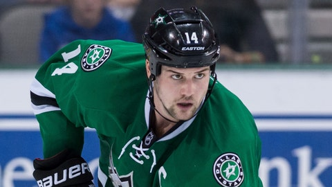 Jan 25, 2014; Dallas, TX, USA; Dallas Stars left wing Jamie Benn (14) skates against the Pittsburgh Penguins during the third period at the American Airlines Center. Benn has goal in the game. The Stars shut out the Penguins 3-0.  Mandatory Credit: Jerome Miron-USA TODAY Sports