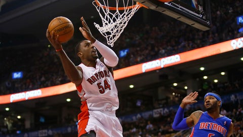 Jan 8, 2014; Toronto, Ontario, CAN; Toronto Raptors forward Patrick Patterson (54) goes to make a basket as Detroit Pistons forward Josh Smith (6) looks on during the first half at the Air Canada Centre. Mandatory Credit: John E. Sokolowski-USA TODAY Sports