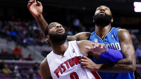 Jan 28, 2014; Auburn Hills, MI, USA; Detroit Pistons cent at Andre Drummond (0) and Orlando Magic power forward Kyle O'Quinn (2) battle for the puck in the second quarter at The Palace of Auburn Hills. Mandatory Credit: Rick Osentoski-USA TODAY Sports