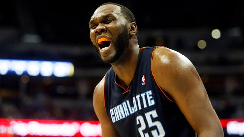 Jan 29, 2014; Denver, CO, USA; Charlotte Bobcats center Al Jefferson (25) reacts during the second half against the Denver Nuggets at Pepsi Center. The Bobcats won 101-98. Mandatory Credit: Chris Humphreys-USA TODAY Sports