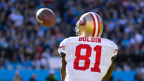 Jan 12, 2014; Charlotte, NC, USA; San Francisco 49ers wide receiver Anquan Boldin (81) catches the ball during the third quarter of the 2013 NFC divisional playoff football game at Bank of America Stadium. Mandatory Credit: Bob Donnan-USA TODAY Sports