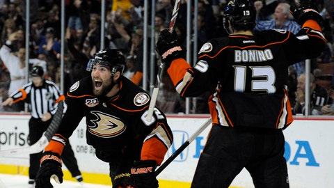 Jan 23, 2014; Anaheim, CA, USA; Anaheim Ducks left wing Pat Maroon (62) celebrates after scoring a goal against the Los Angeles Kings during the second period at Honda Center. Mandatory Credit: Kelvin Kuo-USA TODAY Sports