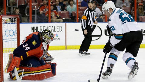 San Jose Sharks' Matt Irwin (52) watches as the puck is deflected by Florida Panthers goalie Tim Thomas (34) during the first period of an NHL hockey game on Thursday, Jan. 16, 2014, in Sunrise, Fla. (AP Photo/Lynne Sladky)