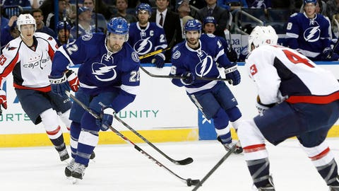 Jan 9, 2014; Tampa, FL, USA; Tampa Bay Lightning defenseman Jean-Philippe Cote (22) shoots as Washington Capitals right wing Tom Wilson (43) defends during the first period at Tampa Bay Times Forum. Mandatory Credit: Kim Klement-USA TODAY Sports