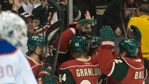 Jan 16, 2014; Saint Paul, MN, USA;  The Minnesota Wild celebrate a goal by defenseman Nate Prosser (39) in the second period against Edmonton Oilers goalie Ben Scrivens (30) at Xcel Energy Center. Mandatory Credit: Marilyn Indahl-USA TODAY Sports