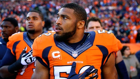 Jan 12, 2014; Denver, CO, USA; Denver Broncos linebacker Wesley Woodyard (52) against the San Diego Chargers during the 2013 AFC divisional playoff football game at Sports Authority Field at Mile High. Mandatory Credit: Mark J. Rebilas-USA TODAY Sports