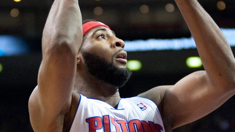 Feb 8, 2014; Auburn Hills, MI, USA; Detroit Pistons center Andre Drummond (0) during the first quarter against the Denver Nuggets at The Palace of Auburn Hills. Mandatory Credit: Tim Fuller-USA TODAY Sports
