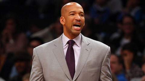Feb 9, 2014; Brooklyn, NY, USA; New Orleans Pelicans head coach Monty Williams reacts during the first quarter of a game against the Brooklyn Nets at Barclays Center. Mandatory Credit: Brad Penner-USA TODAY Sports
