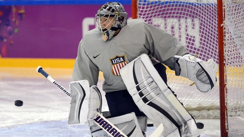 Feb 11, 2014; Sochi, RUSSIA; USA goalie Jonathan Quick (32) during an ice hockey training session for the Sochi 2014 Olympic Winter Games at Bolshoy Training Rink. Mandatory Credit: Jayne Kamin-Oncea-USA TODAY Sports