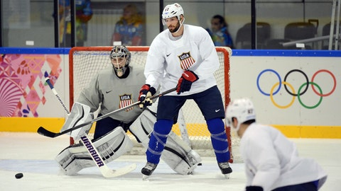 Feb 11, 2014; Sochi, RUSSIA; USA forward Ryan Kesler (17) stands in front of goalie Jonathan Quick during an ice hockey training session for the Sochi 2014 Olympic Winter Games at Bolshoy Training Rink. Mandatory Credit: Jayne Kamin-Oncea-USA TODAY Sports