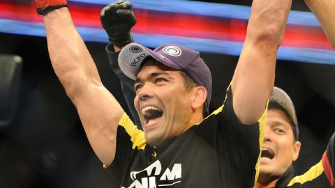 Feb 23, 2013; Anaheim, CA, USA; Lyoto Machida celebrates his victory over Dan Henderson (not pictured) after their UFC heavyweight bout at the Honda Center. Mandatory Credit: Jayne Kamin-Oncea-USA TODAY Sports