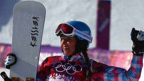 Feb 19, 2014; Krasnaya Polyana, RUSSIA; Alena Zavarzina (RUS) celebrates winning bronze in the ladies' parallel giant slalom during the Sochi 2014 Olympic Winter Games at Rosa Khutor Extreme Park. Mandatory Credit: Guy Rhodes-USA TODAY Sports